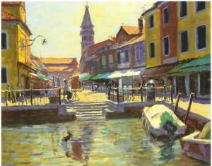 Reproduksjon med motiv av byen Buranos lille havn med eldre  bygninger.  Bilde.