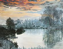 Reproduksjon Sunrise over the river, thumb. Bilde.