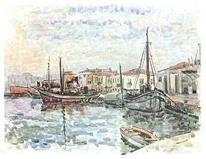 Maleri av Stegmann - båthavn. Bilde.