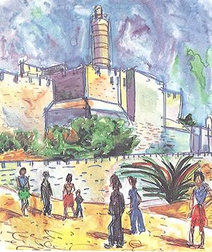 Maleri av Stegmann - I Jerusalem