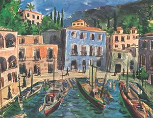 Maleri av Stegmann - Portofino Harbour. Bilde.