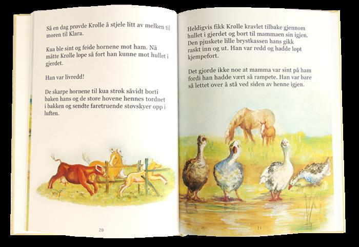 Åpen barnebok, Krølle det rampete føllet. Bilde.