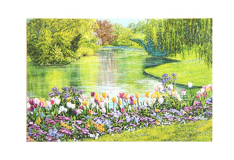 Kort med maleri av en elv og blomster. Bilde.
