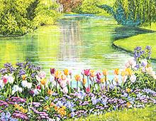Kort med maleri av en elv og blomster, thumb. Bilde.