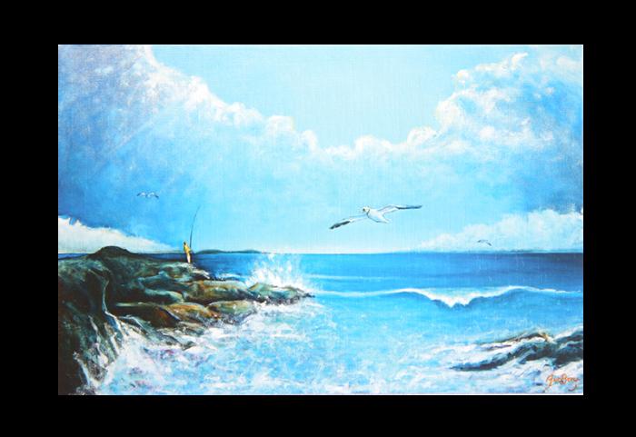 Kort med maleri av en fisker på et skjær og en måke som flyr, thumb. Bilde.