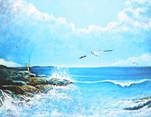Kort med maleri av en fisker på et skjær og en måke som flyr. Bilde.