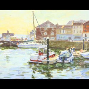 Postkort med maleri av en havn med båter. Bilde.