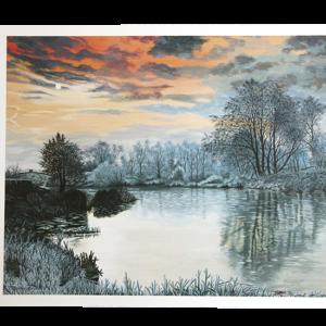 Reproduksjon Sunrise over the river. Bilde.
