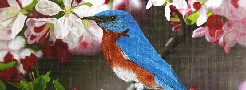 Maleri av fugl mellom blomster. Bilde.