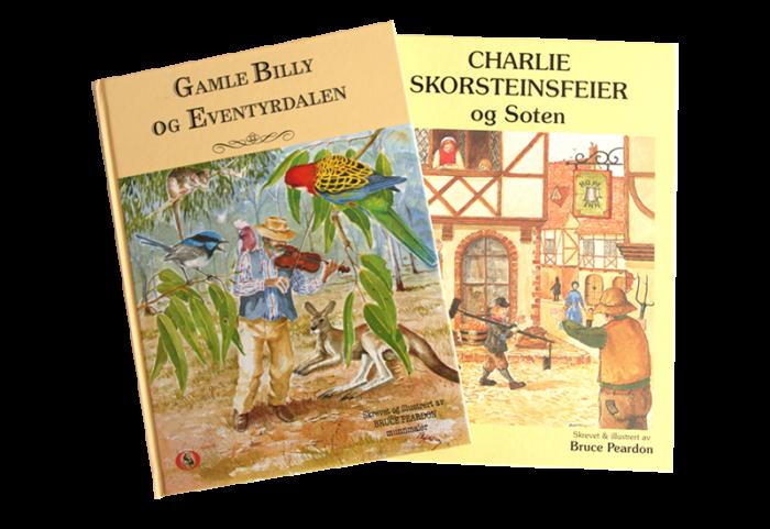 Barnebøker, Gamle Billy og Eventyrdalen og Charlie skorsteinsfeier og Soten. Bilde.