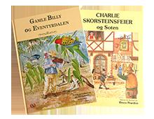 Barnebøker, Gamle Billy og Eventyrdalen og Charlie skorsteinsfeier og Soten, thumb. Bilde.