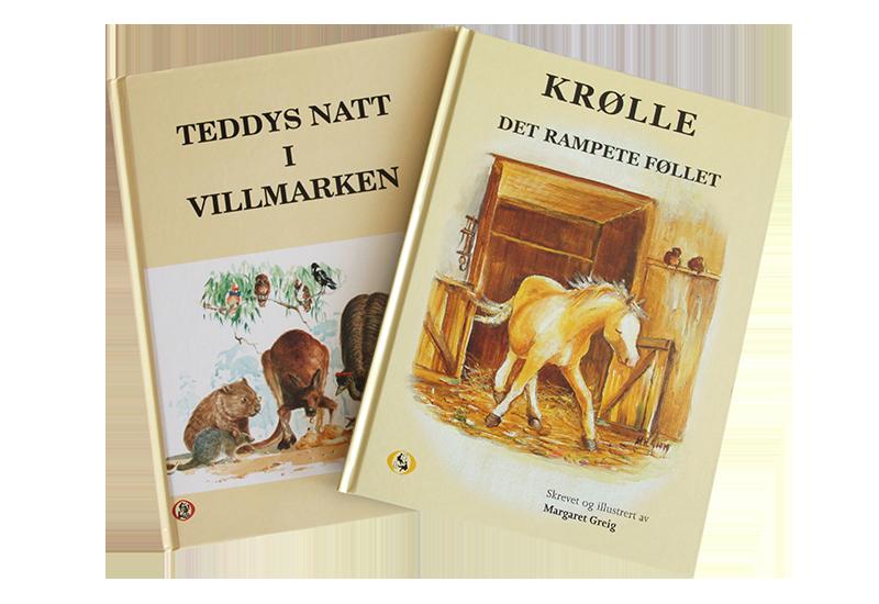 Barnebøker, Teddys natt i villmarken og Krølle, det rampete føllet. Bilde.
