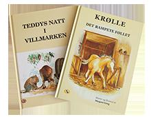 Barnebøker, Teddys natt i villmarken og Krølle, det rampete føllet, thumb. Bilde.
