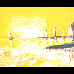 Kort med maleri av seilbåter på sjøen. Bilde.