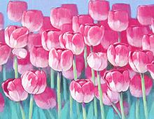 Kort med maleri av rosa tulipaner i blomst. Bilde.