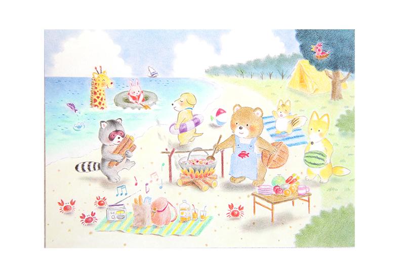 Kort med maleri av tegnede dyr som leker, griller og bader på stranden. Bilde.