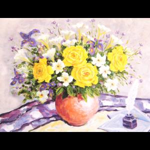 Kort med maleri av vase med gule roser. Bilde.