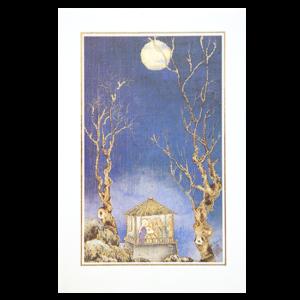 Kort med maleri av Jesusbarnet, Maria og de tre vise menn i et lite hus mellom to trær i måneskinn. Bilde.