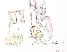 Kort med enkelt maleri av Jesusbarnet i krybben med Maria, Josef og noen dyr stående rundt. Bilde.