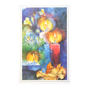 Postkort med akvarell av juledekorasjon med stearinlys. Bilde.