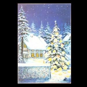 Kort med maleri av snødekket landskap og hus med et lysende juletre utenfor. Bilde.