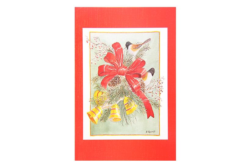Kort med maleri av juledekorasjon beståenda ev bjeller, fugler og en rød sløyfe. Rød ramme rundt. Bilde.