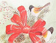 Kort med maleri av juledekorasjon beståenda ev bjeller, fugler og en rød sløyfe. Bilde.