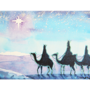 Blått og turkist kort med maleri av de tre vise menn som rir på kameler etter julestjernen. Bilde.