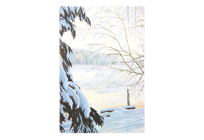 Kort med maleri av en snedekket elv og trær. Bilde.