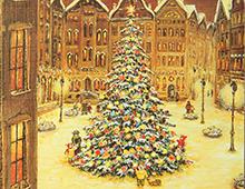 Kort i gull med maleri av et stort pyntet, lysende juletre på en plass i en by. Bilde.