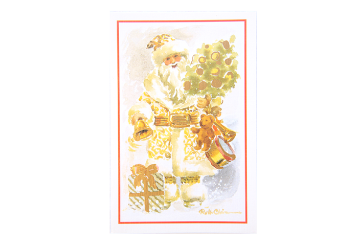 Kort med akvarell av gammeldags julenisse med leker, gaver, pyntet julegran og bjelle. Bilde.