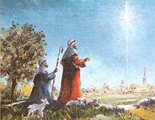 Kort med maleri av to gjetere og et lam som ser julestjernen over Betlehem. Bilde.