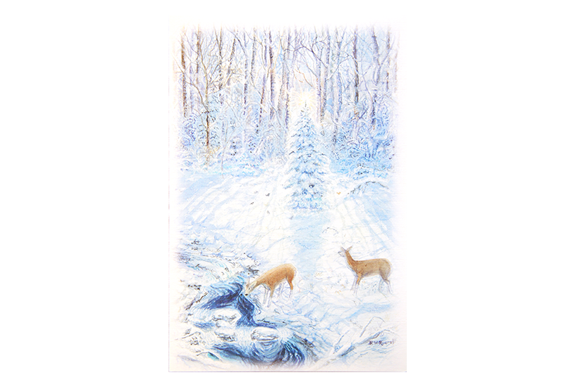 Kort med maleri av to rådyr som drikker fra en elv i en snødekt skog. Bilde.