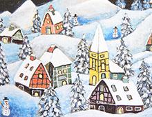 Kort med maleri av en landsby i snelandskap. To snømenn sees mellom husene. Bilde.