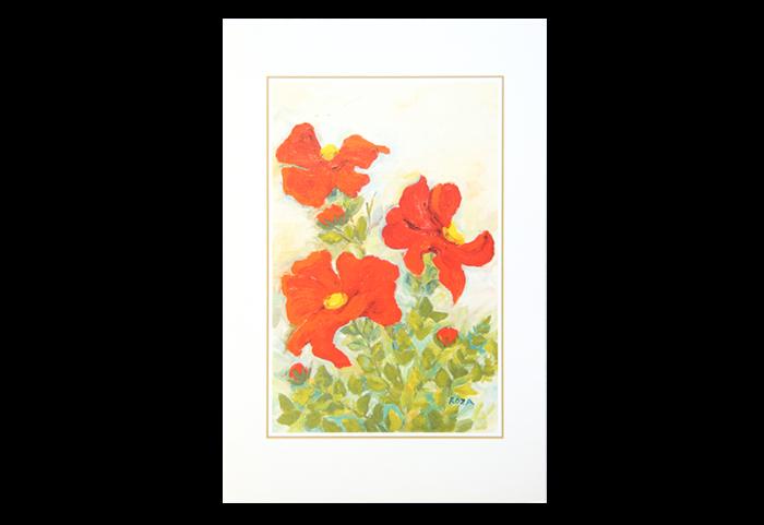 Kort med maleri av tre røde blomster. Bilde.