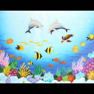 Fargesterkt kort med et maleri av tropiske fisk og delfiner under vann. Bilde.