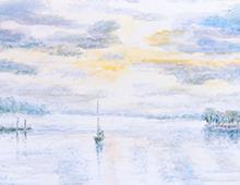 oft med maleri av en seilbåt på sjøen med mye himmel over. Bilde.