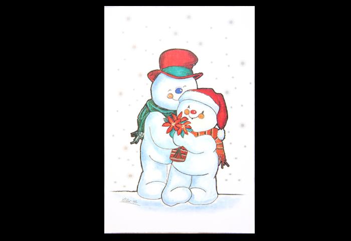 Kort med maleri av en snemann og en snedame som smiler og holder rundt hverandre. Bilde.