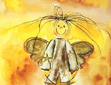 Kort i gull med maleri av en bustete, smilende engel. Hvit ramme. Bilde.