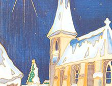 Kort med maleri av en snedekket kirke med julestjernen skinnende på himmelen. Bilde.