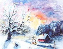 Kort med akvarell av en liten hytte i et snødekket landskap. Bilde.