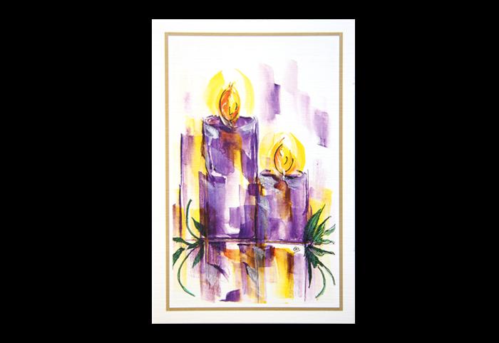 Kort med stillisert maleri to lilla stearinlys. Bilde.