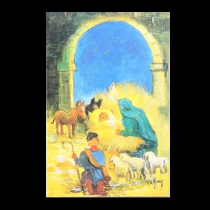 Kort med maleri av Jesusbarnet i krybben i stallen. Dyr og vise menn står rundt. Bilde.