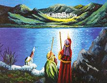 Kort med maleri av de tre vise menn som peker på julestjernen som lyser over Betlehem. Bilde.
