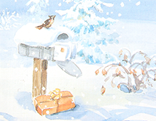 Kort med maleri av en postkasse i vinterlandskap med gaver og en fugl på toppen. Bilde.