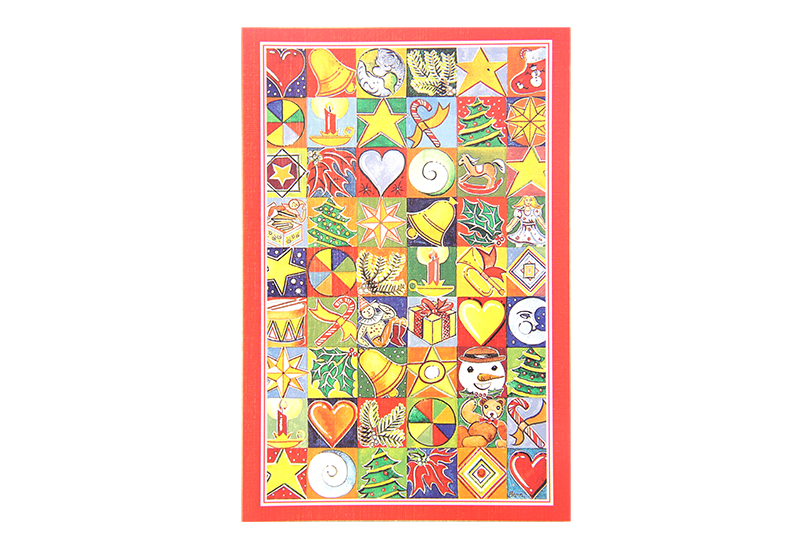 Kort med mange små kvadrater med malerier av forskjellige ting forbundet med jul. Rød ramme. Bilde.