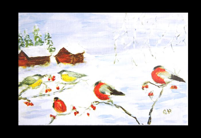 Kort med maleri av småfugler i vinterlandskap. Bilde.