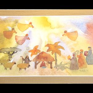 Kort med akvarell av Jesusbarnet i krybben med de tre vise menn, sauer og engler over. Bilde.