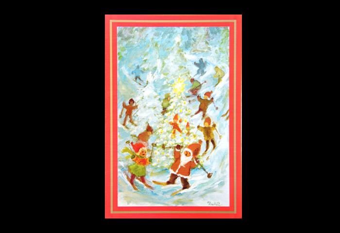 Kort med nisser og hjelpere som står på ski rundt et juletre. Bilde.
