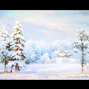 Kort med maleri av et lite hus i skogen i snedekket landskap. Bilde.